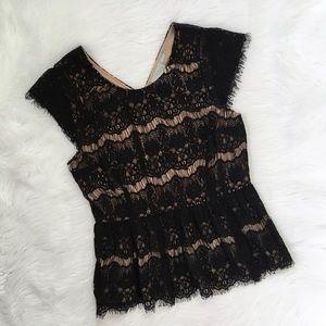 Anthropologie Black Lace Peplum Shirt Blouse